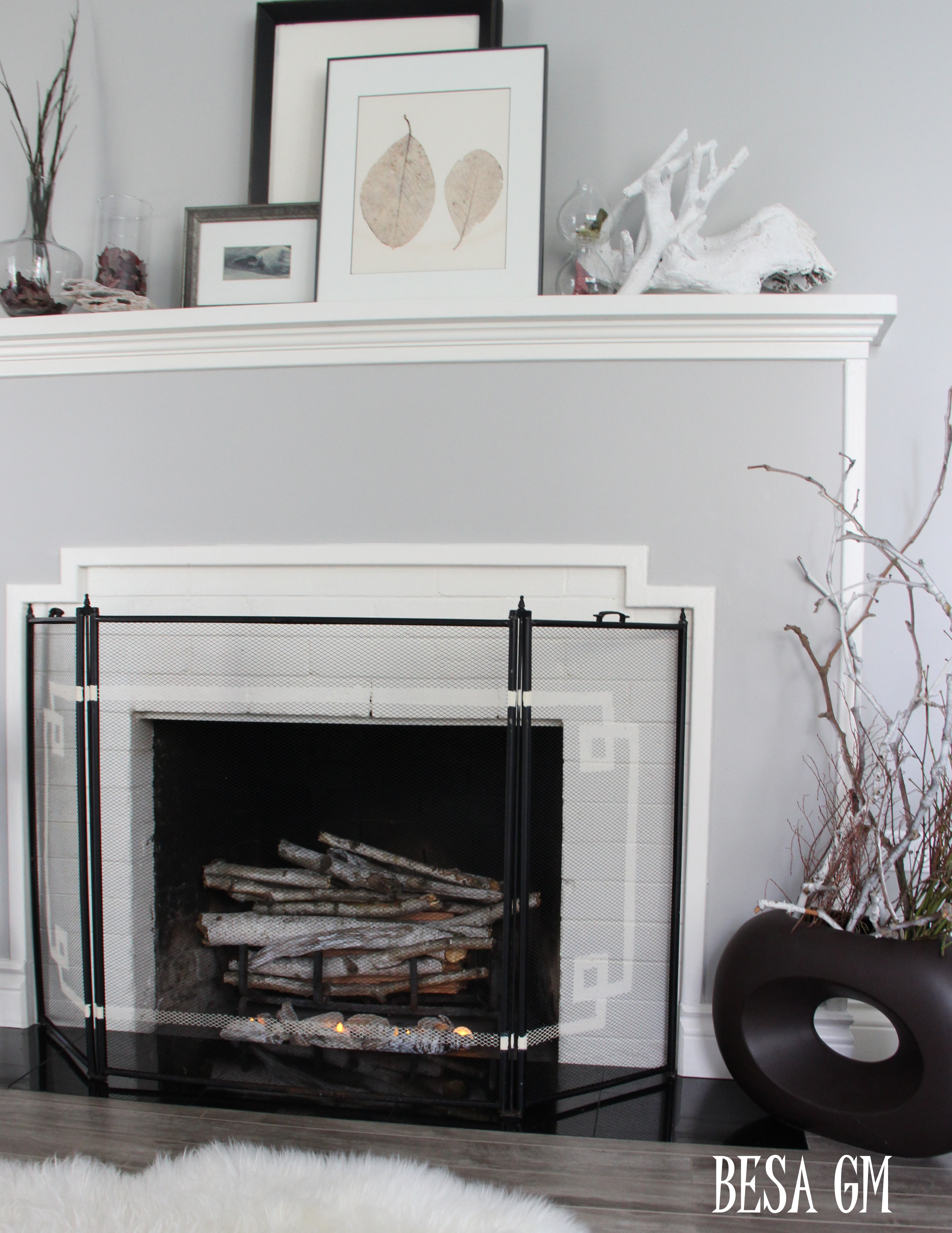 fireplace screen mini makeover  besa gm -