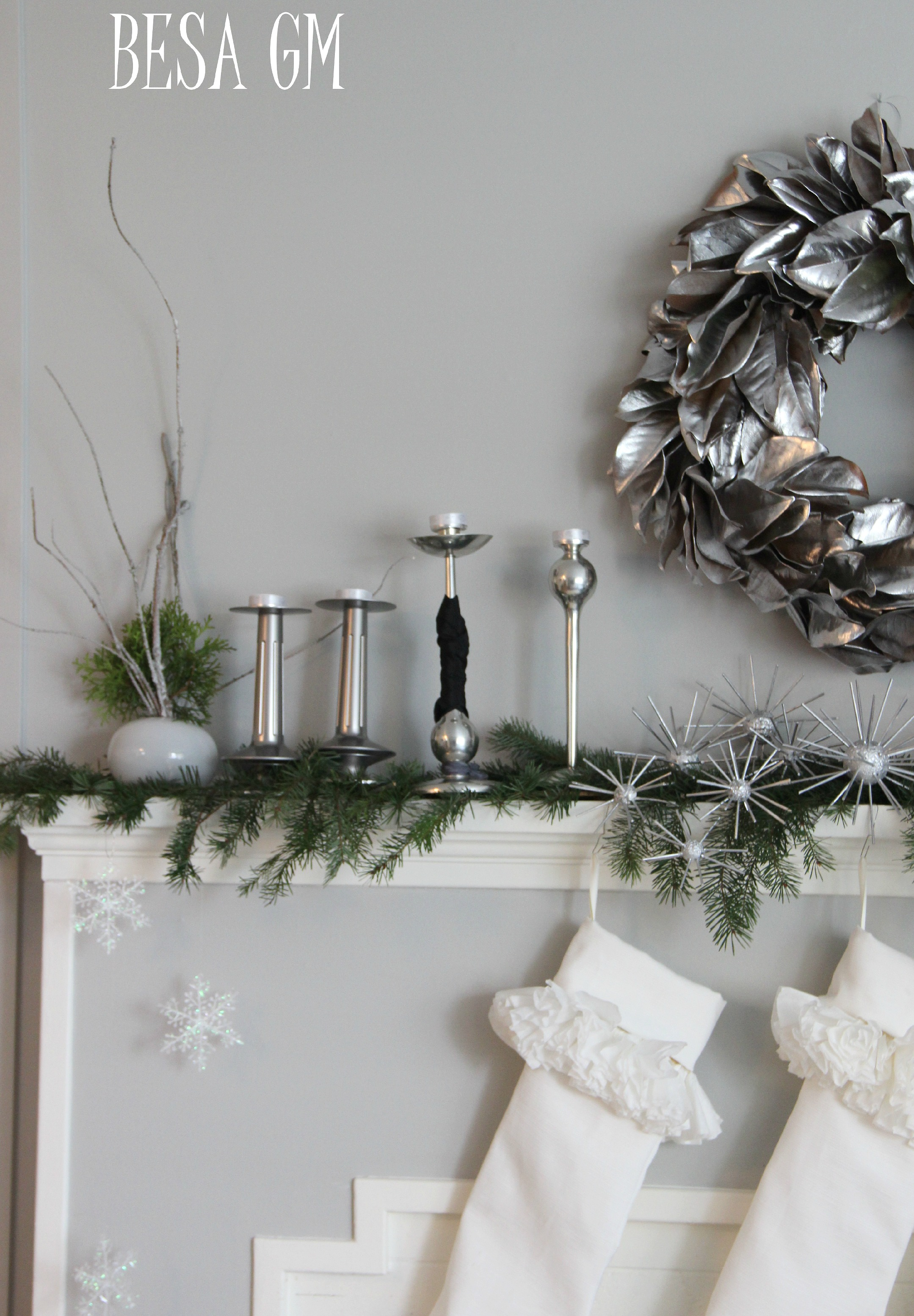Holiday Mantel – Silver & White with a Touch of Black
